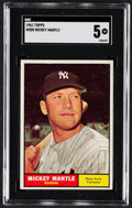 Baseball Cards:Singles (1960-1969), 1961 Topps Mickey Mantle #300 SGC EX 5....