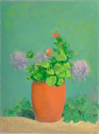 Paul Resika (American, b. 1928) Geraniums Oil on canvas 48-3/4 x 36-1/2 inches (123.8 x 92.7 cm)<