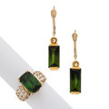 Estate Jewelry:Lots, Green Tourmaline, Diamond, Gold Jewelry . ... (Total: 2 Items)