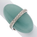 Estate Jewelry:Rings, Aquamarine, Diamond, White Gold Ring. ...