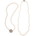 Estate Jewelry:Necklaces, Cultured Pearl, Sapphire, White Gold, Sterling Silver Necklaces. ... (Total: 2 Items)