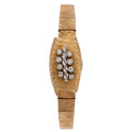 Estate Jewelry:Watches, Swiss Lady's Diamond, Gold Covered Dial Watch. ...