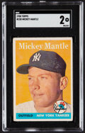 Baseball Cards:Singles (1950-1959), 1958 Topps Mickey Mantle #150 SGC Good 2....