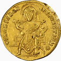 Ancients:Byzantine, Ancients: Romanus I Lecapenus (AD 920-944), with Constantine VII and Christopher. AV solidus (21mm, 4.21 gm, 6h). NGC XF 5/5 - 2/5, scra...