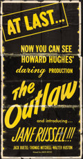 """Movie Posters:Western, The Outlaw (United Artists, R-1950). Folded, Fine. Three Sheet (41"""" X 79.5""""). Western.. ..."""