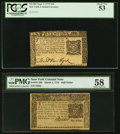 Colonial Notes:New York, New York September 2, 1775 $10 PCGS About New 53;. New York March5, 1776 $1/2 PMG Choice About Unc 58.