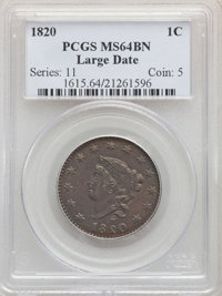 1820 1C Large Date MS64 Brown PCGS. PCGS Population: (242/177). NGC Census: (164/174). CDN: $1,025 Whsle. Bid for proble...