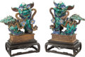 Ceramics & Porcelain:Chinese, A Pair of Chinese Glazed Stoneware Foo Dogs on Carved Hardwood Stands. 27 x 24 x 13 inches (68.6 x 61.0 x 33.0 cm) (each, ap... (Total: 4 Items)
