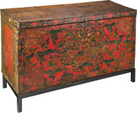 A Tibetan Painted Wood Chest, 18th-19th century 29-3/4 x 56-3/4 x 20-1/2 inches (75.6 x 144.1 x 52.1 cm)