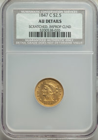1847-C $2 1/2 -- Scratched, Improperly Cleaned -- NCS. AU Details. CDN: $2,400 Whsle. Bid for problem-free NGC/PCGS AU50...