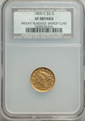 Liberty Quarter Eagles, 1860-C $2 1/2 -- Mount Removed, Improperly Cleaned -- NCS. XF Details. CDN: $2,300 Whsle. Bid for problem-free NGC/PCGS XF4...