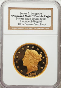 1865-Dated James B. Longacre Proposed Motto Double Eagle, Ultra Cameo Gem Proof NGC. Private issue struck 2010. One ounc...