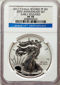 Modern Bullion Coins, 2011-P $1 Reverse Proof Silver Eagle, 25th Anniversary Set, Early Releases, PR70 NGC. NGC Census: (17187). PCGS Population:...