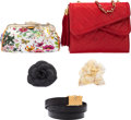 Luxury Accessories:Bags, Set of Five: Chanel Shoulder Bag, Camellia Flower Pins, Belt & Gucci Evening Bag. Condition: 3. See Extended Condition... (Total: 5 )