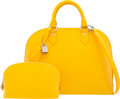 """Luxury Accessories:Bags, Louis Vuitton Yellow Epi Leather Alma PM Bag. Condition: 1. 12"""" Width x 8"""" Height x 6"""" Depth. ..."""