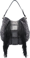 "Luxury Accessories:Bags, Christian Louboutin Metallic Black Leather Lucky Fringed Hobo Bag. Condition: 1. 14"" Width x 15"" Height x 3"" Depth. ..."