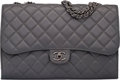 """Luxury Accessories:Bags, Chanel Gray Quilted Lambskin Foldable Flap Bag. Condition: 2. 12.5"""" Width x 8"""" Height x 3"""" Depth. ..."""