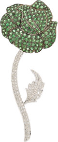 Estate Jewelry:Brooches - Pins, Tsavorite Garnet, Diamond, White Gold Brooch. ...