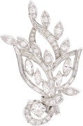 Estate Jewelry:Brooches - Pins, Diamond, Platinum Clip-Brooch. ...
