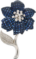 Estate Jewelry:Brooches - Pins, Sapphire, Diamond, White Gold Brooch . ...
