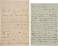 Books:Manuscripts, Alfred Sisley. Two Autograph Letters Signed....