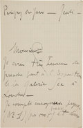 Books:Manuscripts, André Dunoyer de Segonzac (French Painter and Graphic Artist, 1884-1974). Autograph Letter Signed. [N.p., n. d., ca. 1910-19...