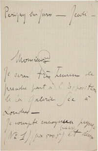 André Dunoyer de Segonzac (French Painter and Graphic Artist, 1884-1974). Autograph Letter Signed. [N.p., n. d...