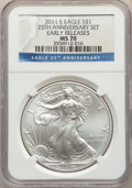 Modern Bullion Coins, 2011-S $1 Silver Eagle, 25th Anniversary, Early Releases, MS70 NGC. NGC Census: (18379). PCGS Population: (8145). MS70....