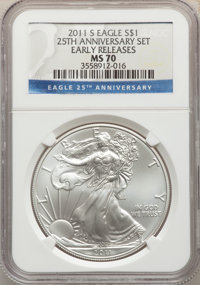 2011-S $1 Silver Eagle, 25th Anniversary, Early Releases, MS70 NGC. NGC Census: (18379). PCGS Population: (8145). MS70...