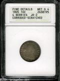 Early Dimes: , 1805 10C 4 Berries--Corroded, Scratched--ANACS. Fine Details, NetGood 4....