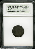 Bust Dimes: , 1811/9 10C--Corroded, Scratched--ANACS. Fine Details, Net VG10....