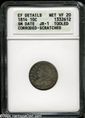 Bust Dimes: , 1814 10C Small Date--Tooled, Corroded, Scratched--ANACS. XFDetails, Net VF20....
