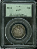 Seated Quarters: , 1883 25C AU53 PCGS....