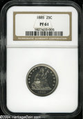 Proof Seated Quarters: , 1885 25C PR61 NGC....