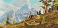 Paintings, Glen Spencer Hopkinson (American, b. 1946). The Trapper in the Tetons. Oil on board. 23 x 47 inches (58.4 x 119.4 cm). S...