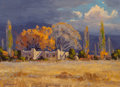 Paintings:20th Century, Bill Warden (American, 1927-1991). October Storm. Oil on Masonite. 10 x 14 inches (25.4 x 35.6 cm). Signed lower left: ...