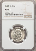 1936-D 25C MS61 NGC. NGC Census: (29/882). PCGS Population: (11/1801). CDN: $510 Whsle. Bid for problem-free NGC/PCGS MS...