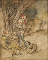 Arthur Rackham (British Artist and Illustrator, 1867-1939). I'll kiss thy foot: I'll swear myself thy subject