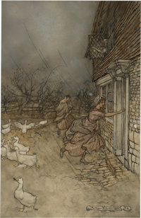Arthur Rackham (British Artist and Illustrator, 1867-1939). The Sudden Storm, a.k.a. Even to this day they never h