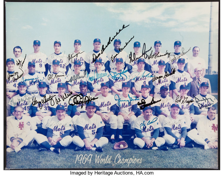 1969 New York Mets Team Signed Oversized Photograph - World Series  Champions (30 Signatures)