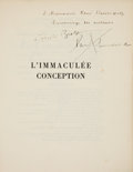 Books:Art & Architecture, André Breton and Paul Éluard, L'IMMACULÉE CONCEPTION. Paris: 1930. First edition. Signed.. ...