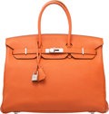 "Luxury Accessories:Bags, Hermès 35cm Orange H Togo Leather Birkin Bag with Palladium Hardware. N Square, 2010. Condition: 3. 14"" Width x 10..."