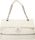 "Luxury Accessories:Bags, Chanel Ivory Quilted Lambskin Leather Large Expandable Flap Bag. Condition: 3. 14"" Width x 10"" Height x 5"" Depth. ..."