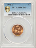 Lincoln Cents, 1972-D 1C MS67 Red PCGS. PCGS Population: (24/0). NGC Census: (9/0). CDN: $480 Whsle. Bid for problem-free NGC/PCGS MS67. M...