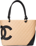 "Luxury Accessories:Bags, Chanel Beige Quilted Lambskin Leather Ligne Cambon Tote Bag. Condition: 2. 15"" Width x 10"" Height x 5"" Depth. ..."