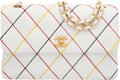 "Luxury Accessories:Bags, Chanel White Quilted Caviar Leather Multi-Color Stitched Single Flap Bag with Gold Hardware. Condition: 3. 10"" Width x..."