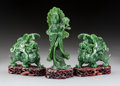 Carvings:Chinese, Three Chinese Spinach Jade Carvings on Carved Hardwood Stands, 20th century . 8-3/4 x 3-3/4 x 2-1/2 inches (22.2 x 9.5 x 6.4... (Total: 3 Items)