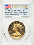 Modern Bullion Coins, 2017-W $100 American Liberty High Relief, First Strike, .9999 Fine, PR70 Deep Cameo PCGS. PCGS Population: (976). NGC Censu...