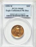 1999-W $10 Quarter-Ounce Gold Eagle, Unfinished Proof Dies MS68 PCGS. PCGS Population: (589/1488). NGC Census: (224/2071...