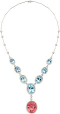 Estate Jewelry:Necklaces, Tourmaline, Aquamarine, Diamond, White Gold Necklace . ...